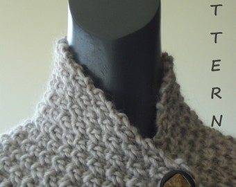 Knitting cowl pattern. Easy and quick neckwrap cowl + Free Knitting Scarf Pattern . PDF 010.