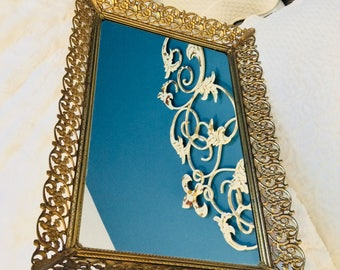 "Vintage Gold Mirror Tray Large Floral and Lacy Scrolls Filigree Dresser Vanity Tray 15.5"" Gold Plated"