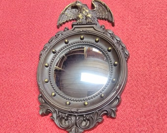 Vintage Homco Convex Eagle Mirror Federal Ornate Wall Hanging Home Office Decor