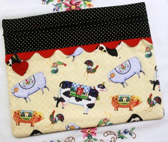 Jim Shore Barnyard Friends Cross Stitch Embroidery Project Bag