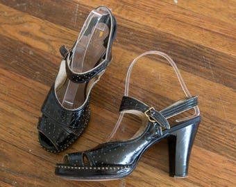 Joan shoes | vintage 40s shoes | 1940s black studded leather heels | 40s platform shoes | vintage 40s peeptoe sandals | 40s heels | sz 6.5 7