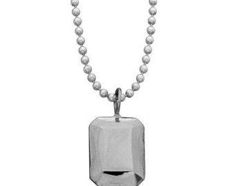 Modern Rock Emerald facet necklace in sterling silver, sterling silver necklace, silver faceted gemstone necklace, Emerald cut necklace