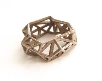 geometric ring - Triangulated Ring in Stainless Steel. 3d printed. triangle jewelry. modern statement jewelry