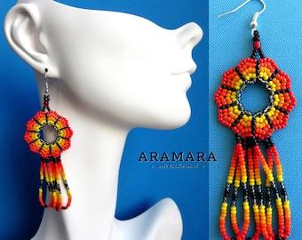 Huichol Earrings, Round earring, Mexican earrings, Mexican Jewelry, Native american earrings, Loop Earrings, Mexican folk art, AR-0124