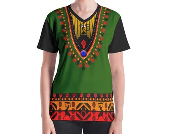 Queendom Dashiki Women's V-neck breathable tee African Dashikis Clothing  Woman Dashiki t-shirt