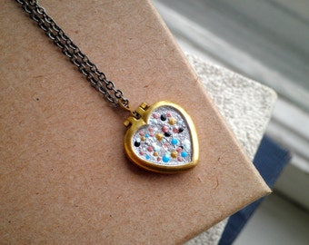Heart Locket Charm Necklace - Boho Locket Pendant Layering Jewelry Gift for Her - Cosmic Love Tiny Dot Art Hand Painted Outer Space Galaxy