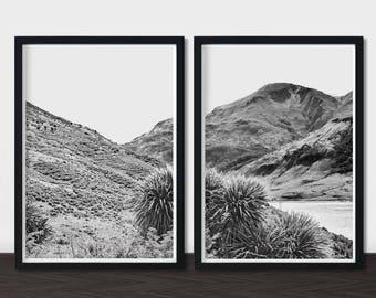 Black White Mountain Photography Set, Original Artwork Monochrome Photography, Monochrome Decor, Monochrome Printable Wall Art Set of 2