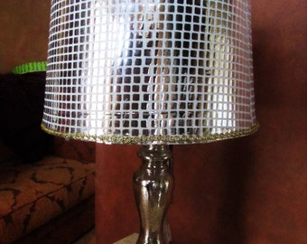 Silver lamp etsy silver metallic lamp and shade for bedroom desk or family room unique one of a kind sparkling designer lamp aloadofball Image collections