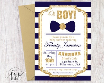 Navy and Gold Baby Shower Invitation, Boys Baby Shower Invitation, Gold Glitter Baby Shower Invite, Printable Baby Shower, Bow Tie