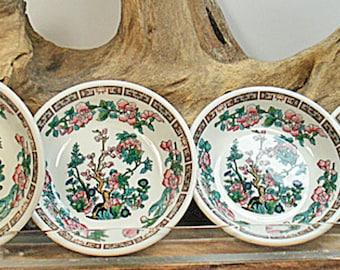 Syracuse China U.S.A. Set of 4 Indian Tree Fruit Bowls Pink Flowers