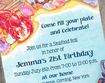 Seafood Boil Invitation, Digital File Crawfish Boil Invitation, Low Country Boil Invite, Printable Crawfish Invitation, Seafood Boil Invite