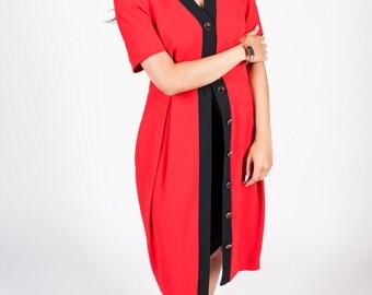 Vintage 1980s Red & Black Button Down Dress