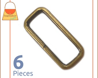 1.5 Inch Rectangular Wire Loops / Rings, Antique Brass / Bronze Finish, 6 Pack, Purse Handbag Hardware, 1-1/2 Inch Rectangle, RNG-AA161