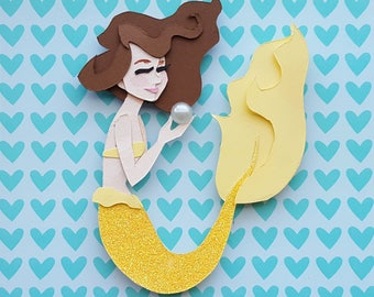 Mermaid Mini Cut Paper Illustration / Gift