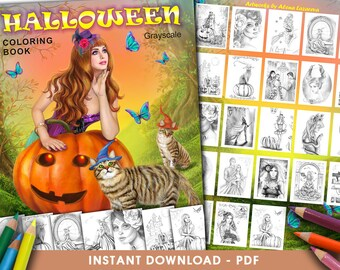 Printable Digital PDF - Halloween Coloring Book  Grayscale  by Alena Lazareva Adult Coloring, instant DOWNLOAD, PDF coloring book