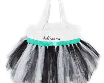 Wedding Flower Girl Bag, Teal Ribbon, Dance Bag, Teal Tutu Bag, Name Embroidered on the Bag. Personalized Girl, Ballet Bag, Dance Class Bag