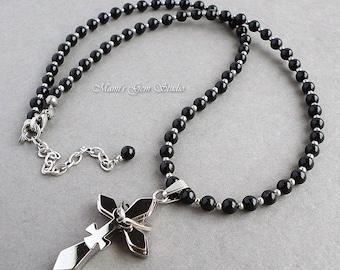 Female Symbol Cross Pendant Necklace with Black Onyx Gemstone, Stainless Steel, Handmade