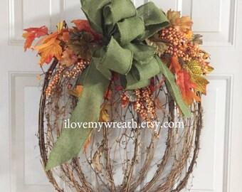 pumpkin door hanger, pumpkin wreaths, pumpkin wall hanger, wreaths for front door, burlap wreaths, rustic wreaths, pumpkin door decoration