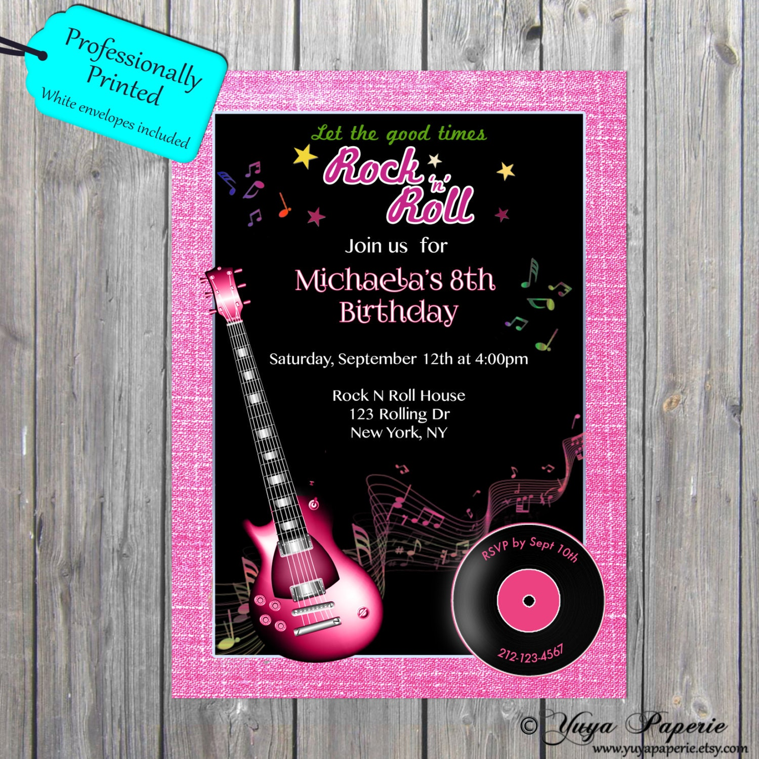Rock n Roll Party Invitation, Girl Guitar invite, 1950s invite, rock ...