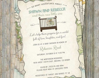 World Baby Shower Invitation, Travel Baby Shower, Welcome to the world, Digital, Printable file