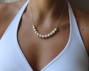 Fresh pearls necklace, white pearls necklace, Bride necklace, Wedding jewelry, Gold filled necklace, Gift for her, Bridal jewelry, Boho chic