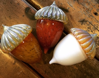Hand blown glass acorns