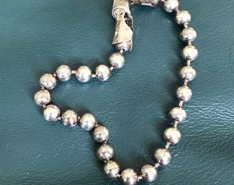 "7"", Vintage Sterling silver bracelet, solid 925 silver beads link chain, stamped 925"