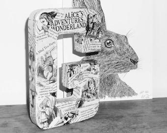 Maché letters A-Z Alice in Wonderland, nursery, mantelpiece, wedding décor. Mad Hatter, Cheshire Cat, White Rabbit art.