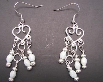 Silver and Light Blue Chandelier Earrings