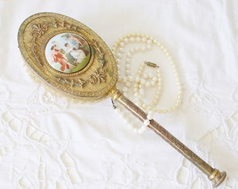 Beautiful Antique Vanity Brush, Ornate Brass Back with Enameled Insert, Victorian Scene