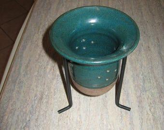 Deep Emerald Green Planter with Stand, Handmade