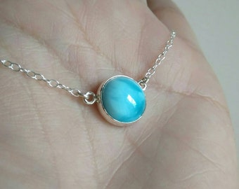 Blue Larimar Sterling Silver Necklace - Dominican Larimar Sterling Silver Pendant - Skinny Larimar Pendant w Silver Lace Chain Necklace