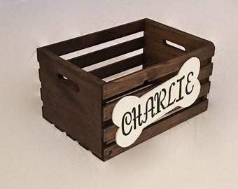 Personalized Dog Toy Box , Wooden Dog Crate , Dog Toy Storage , Toy Box