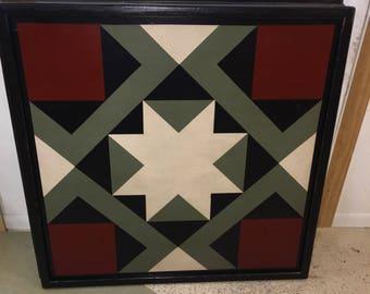 PRiMiTiVe Hand-Painted Barn Quilt - 3' x 3' Magic Carpet Pattern (Dark Sage Version)