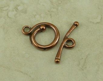 1 TierraCast Renaissance Toggle Clasp > Round Swirl Spiral Flourish - Copper Plated Lead Free Pewter - I ship Internationally 6218