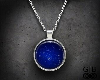 Royal Blue Necklace Twinkle Sky Pendant - Twinkle Jewelry Royal Blue Pendant - Royal Blue Jewelry Twinkle Necklace - Blue Sky Necklace