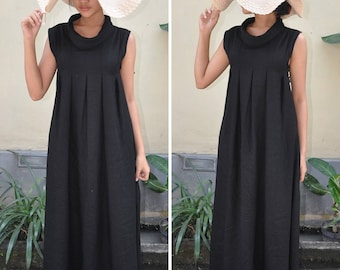 Linen Maxi Dress, Black Linen Dress, Maternity Dress, Maxi Summer Dress, Plus Size Dress. Gift For Her