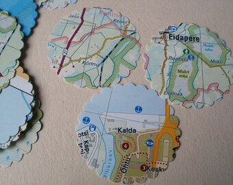 100 Die Cut Scrapbooking paper scalloped circles (countries) Vintage Map