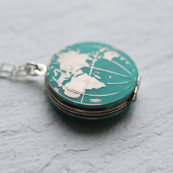 Silver world map locket globe locket earth necklace map gumiabroncs Gallery