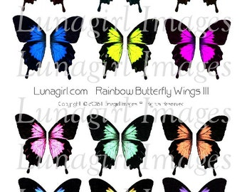 BUTTERFLY WINGS digital collage sheet, Rainbow pastels Bright Wings butterflies fairy, faerie fantasy altered art fairies, ephemera DOWNLOAD