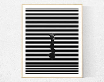 Black and white wall art, abstract print, minimalist wall art, scandinavian print, scandinavian wall art, wall decor, instant download