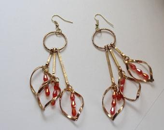 Orange Crystal Dangle Earrings, Shimmering Swarovski Crystal Chandeiler Earrings Free Shipping, Cascading Triple Strand Dangle Earrings Sale