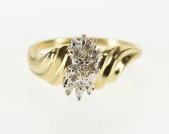 10K Diamond Textured Accent Cluster Freeform Ring Size 6.75 Yellow Gold