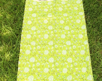 "100% Cotton Fabric: Hand Block Floral on Lime Green, 1 yard x 44"", Traditional Bohemian Indian Textile with Flowers, Boho Sewing Supplies"