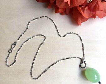 Sterling silver green agate necklace