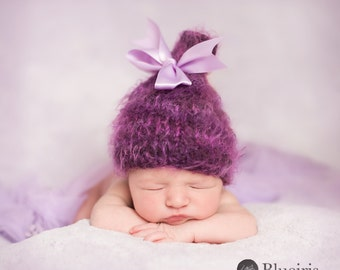 Baby Hat, Baby Photo Prop, NewBorn Baby Girl Hat, Newborn Photo Prop, Lnit Photo Prop, Purple Hat, Bow hat