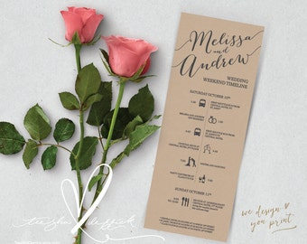Printable Wedding Timeline, Wedding Weekend timeline, Wedding Itineraries (t0101) for Welcome Bags  in typography theme theme .