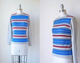 1970s vintage deadstock stripe pull over blue brick red grey gray sweater s