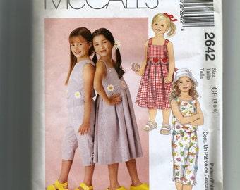 McCalls' Girls' Dress, Top, and Capri Pants Pattern2642