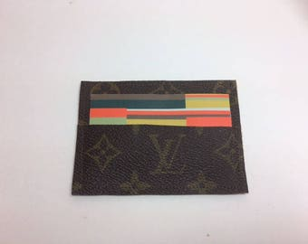 Louis vuitton business card holder mini wallet upcycled lv louis vuitton business card holder mini wallet upcycled lv monogram wallet recycled reworked upcycled repurposed keepall neverfull colourmoves